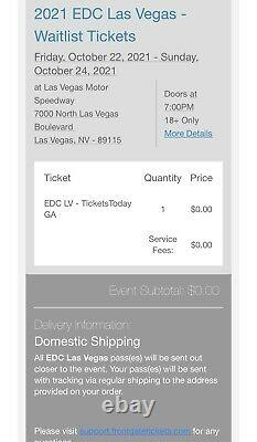 (1 GA) 2021 EDC Las Vegas GA 3 Day Experience With All Accessories As Pictured