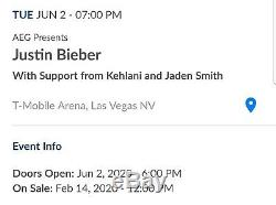 2 Floor Tickets / Justin Bieber Changes Tour 6/2/20 T-Mobile Arena Las Vegas, NV