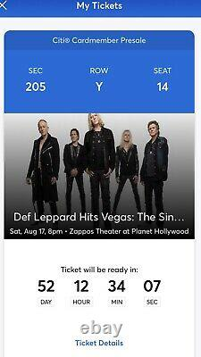 2 Tickets Def Leppard 8/17/19 at Planet Hollywood Las Vegas, NV