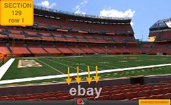 4 Front row Las Vegas Raiders at Cleveland Browns tickets section 129 row 1