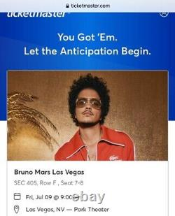 Bruno Mars Tickets Las Vegas 2021 July 9 2021 2 tickets Park MGM Section 405