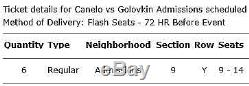 Canelo vs GGG tickets x 2, Lower Section