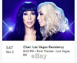 Cher Concert 2 Tickets Las Vegas, NV Park Theater November 3, 2018 800 pm EMAIL