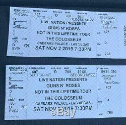 Lot of 2 -Guns N Roses Tickets Las Vegas 11/2/2019 -Colosseum in Caesars Palace