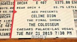 Two Tickets Celine Dion Caesars Palace Las Vegas 5/21/19 730 Pm Rear Orchestra